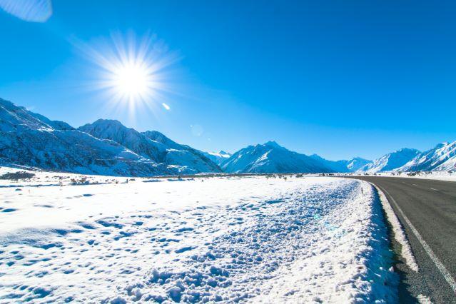 Przykład światła słonecznego w zimie